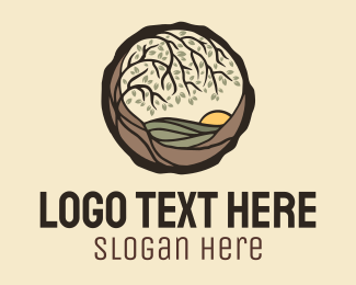 Outdoors - Woodland Valley Landscape logo design