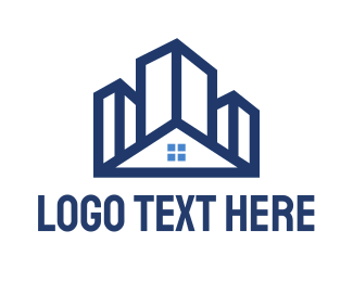 Structure - Blue Building House logo design