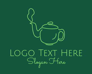 Relaxing - Green Teapot Line Art logo design