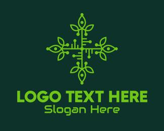 Biotechnology - Green Leaf Circuit Board logo design