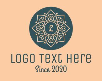 Romantic - Heart Flower logo design