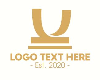 Plaque - Golden Honorary Award Letter U logo design