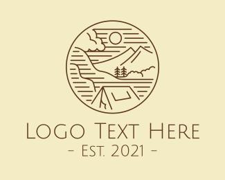 Camp - Mountain Landscape Camp logo design