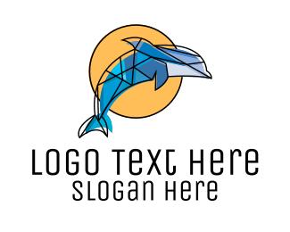 Aquatic - Mosaic Dolphin logo design