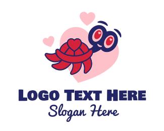 Hearts - Happy Love Turtle  logo design