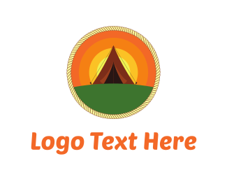 Tent - Sunrise Camp logo design