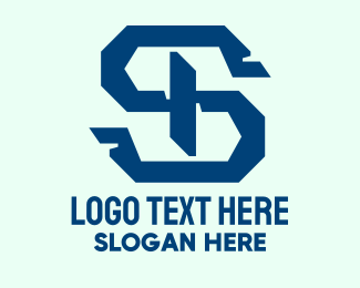 Repairman - Blue Mechanical Letter S logo design
