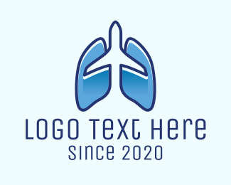 Flight - Blue Airplane Flight Lungs logo design