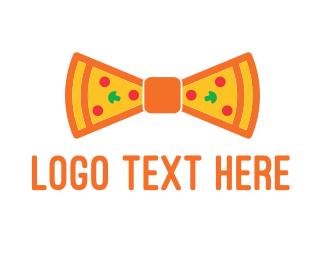 Waiter - Pizza Bow Tie logo design