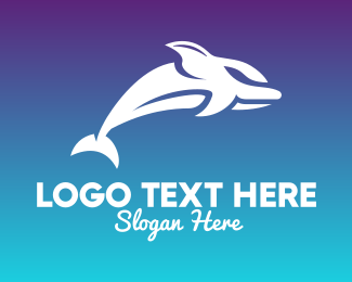 Beach Resort - Dolphin Silhouette logo design