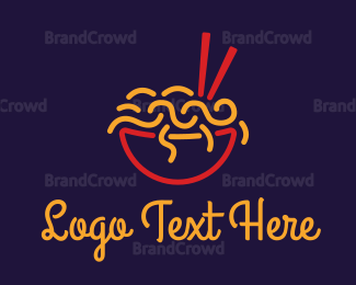 Dining - Ramen Noodle Outline logo design