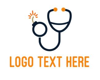 Boom - Stethoscope & Bomb logo design