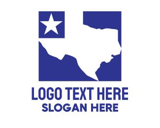 Texas - Blue Texas Map logo design