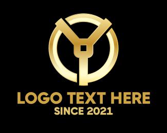 Car - Golden Letter Y logo design