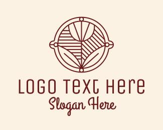 Rose Line Art Badge Logo Maker