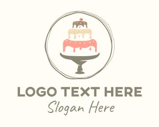 Bake Shop - Dripping Cake Glazing Badge logo design