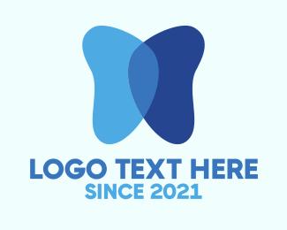Healthy - Blue Butterfly logo design