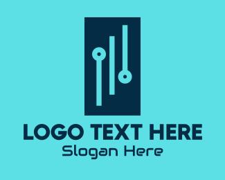 Rectangle - Digital Circuit Rectangle logo design