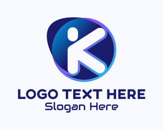 Cyberspace - Blue Digital Company Letter K logo design