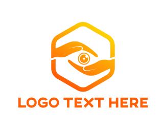 Gesture - Hexagon Hand Lens logo design