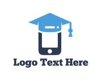 Blue Phone - Mobile Graduation logo design