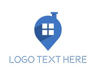 Chimney - Home Map Pin logo design