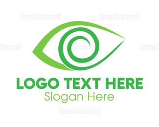 Eye Care - Green Spiral Eye logo design