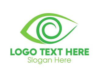 Visionary - Green Spiral Eye logo design