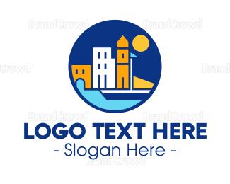 European - European Town logo design