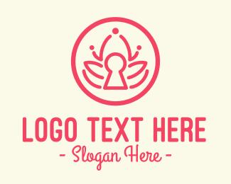 Unlocked - Pink Lotus Keyhole logo design