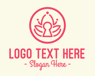 Keyhole - Pink Lotus Keyhole logo design