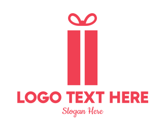 Party Supplies - Pink Gift Box logo design