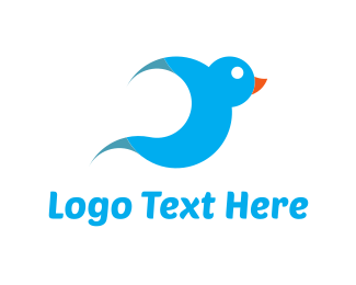 Abstract Blue Bird  Logo
