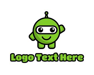 Extraterrestrial - Green Pea Martian logo design