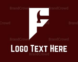 Carpenter - Geometrical F Hammer Logo logo design