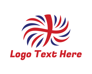 British - British Flag Feather  logo design