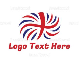 Feather - British Flag Feather  logo design