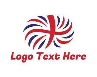 Sovereign - British Flag Feather logo design