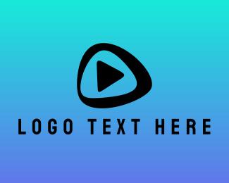Stream - Black Play Button logo design
