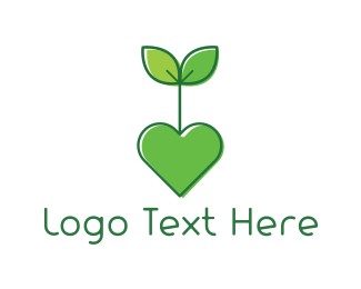 Valentines Day - Heart Plant logo design