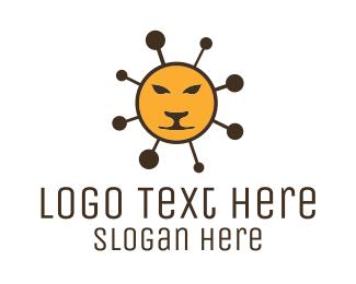 Orange Lion - Molecular Lion logo design