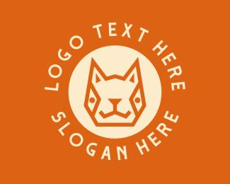 Pet Groom - Geometric Cat Head logo design