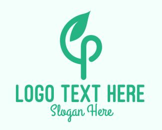 Green Living - Green Vine Letter P  logo design