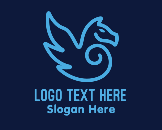 Mythical - Blue Pegasus Horse logo design