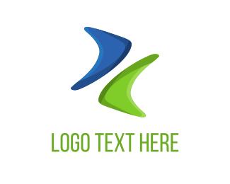 Boomerang - Blue & Green Boomerang logo design