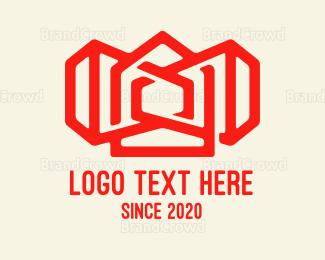 Decoration - Red Siren House Outline  logo design