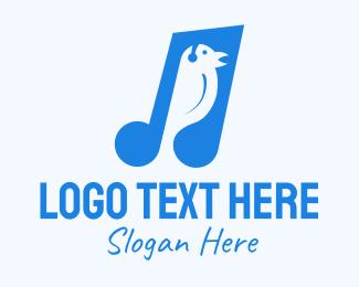 Song - Blue Musical Song Bird logo design