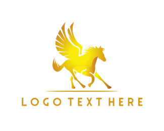 High Quality - Golden Pegasus logo design