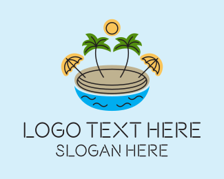 Resort - Beach Resort Island logo design