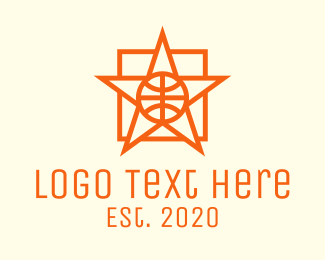 Hoops - Orange Basketball Star logo design